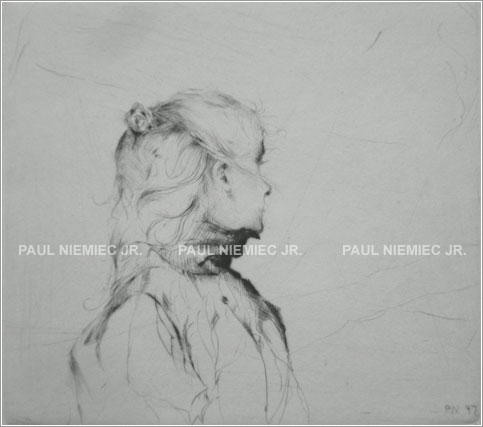 Half Ponytail, etchings and dry points by Paul Niemiec Jr. Running Wind Studio