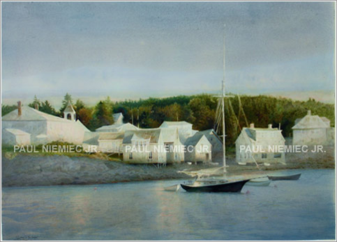 Windows to the harbor, limited edition print by Paul Niemiec Jr. Running Wind Studio