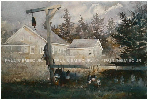 Black Buoys watercolor, art by Paul Niemiec Jr. Running Wind Studio